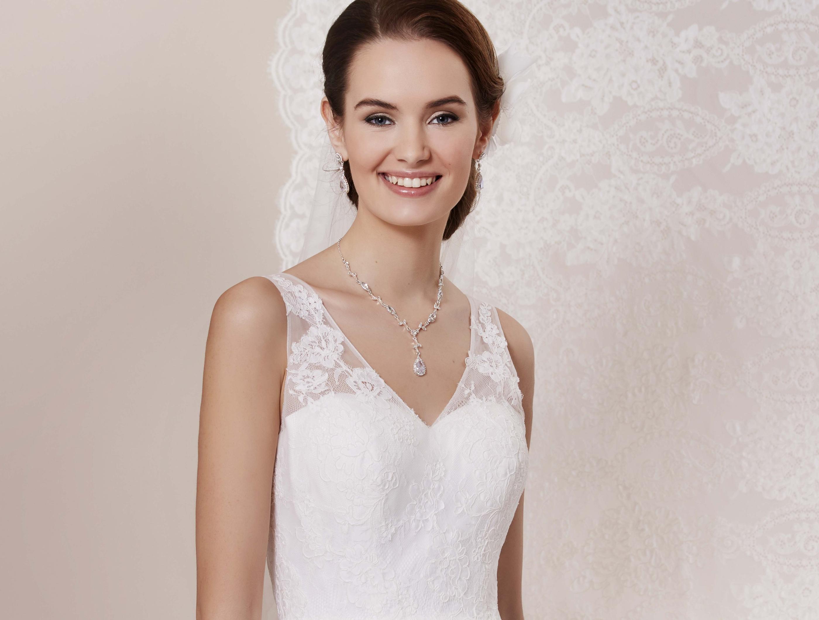 3/4-Langes Tüll und Spitzen Brautkleid im 50\'s Style