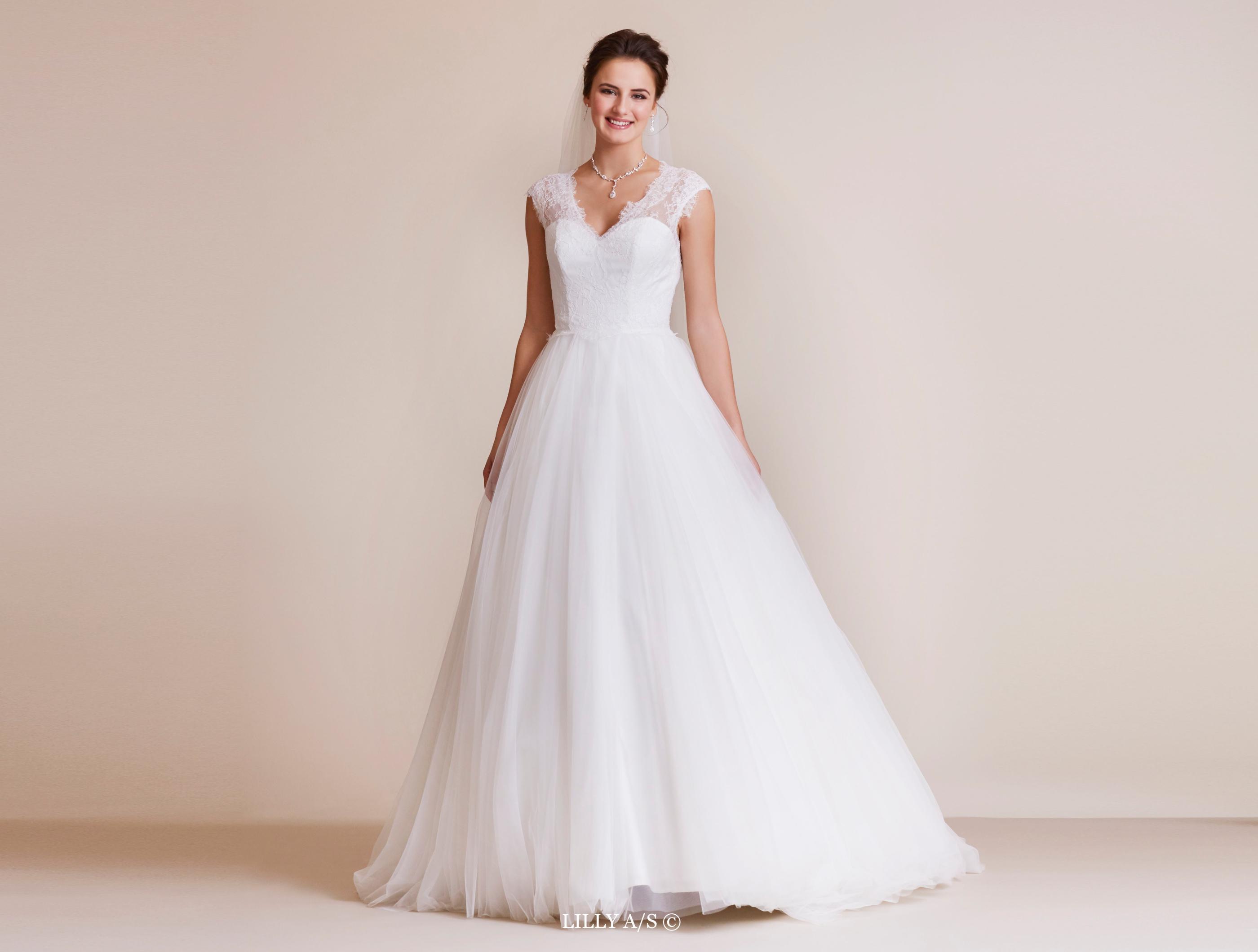 Tüll-Brautkleid mit Spitze im Prinzessin-Stil